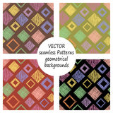 Set of seamless vector geometrical patterns with geometric figures, forms. pastel endless background with hand drawn textured geom Stock Photos