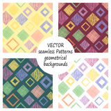 Set of seamless vector geometrical patterns with geometric figures, forms. pastel endless background with hand drawn textured geom Stock Photography