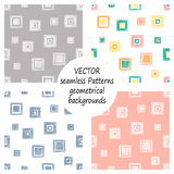 Set of seamless vector geometrical patterns with geometric figures, forms. pastel endless background with hand drawn textured geom. Set of seamless vector vector illustration