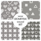 Set of seamless vector geometrical patterns with hearts. pastel endless background with hand drawn textured geometric figures. Gra Stock Photography
