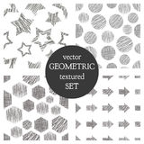 Set of seamless vector geometrical patterns with rectangles, circle, arrows, stars. Black and white pastel endless background with Royalty Free Stock Photo