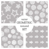 Set of seamless vector geometrical patterns with rectangles, circle, arrows, stars. Grey pastel endless background with hand drawn Royalty Free Stock Photo