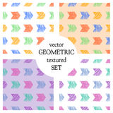 Set of seamless vector geometrical patterns with rectangles. pastel endless background with hand drawn textured geometric figures. Royalty Free Stock Image