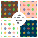 Set of seamless vector geometrical patterns with rectangles. pastel endless background with hand drawn textured geometric figures. Royalty Free Stock Photo