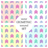 Set of seamless vector geometrical patterns with rectangles. pastel endless background with hand drawn textured geometric figures. Stock Photos