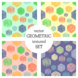 Set of seamless vector geometrical patterns with rectangles. pastel endless background with hand drawn textured geometric figures. Royalty Free Stock Photos