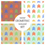 Set of seamless vector geometrical patterns with rectangles. pastel endless background with hand drawn textured geometric figures. Stock Images