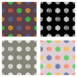 Set of seamless vector geometrical patterns with rectangles. pastel endless background with hand drawn textured geometric figures. Graphic vector illustration Royalty Free Stock Image