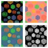 Set of seamless vector geometrical patterns with rectangles. pastel endless background with hand drawn textured geometric figures. Graphic vector illustration Royalty Free Stock Photography