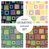 Set of seamless vector geometrical patterns with squares . pastel endless background with hand drawn textured geometric figures. G Royalty Free Stock Image