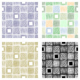 Set of seamless vector geometrical patterns with squares pastel endless background with hand drawn textured geometric figures Grap. Hic vector illustration Print Stock Images