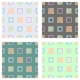 Set of seamless vector geometrical patterns with squares pastel endless background with hand drawn textured geometric figures Grap. Hic vector illustration Print Royalty Free Stock Images