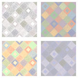 Set of seamless vector geometrical patterns with squares pastel endless background with hand drawn textured geometric figures Grap. Hic vector illustration Print Stock Image