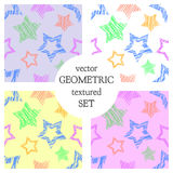 Set of seamless vector geometrical patterns with stars. pastel endless background with hand drawn textured geometric figures. Grap. Hic vector illustration Stock Images