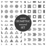 Set of seamless vector geometrical patterns with triangles, circle, squares. Black and white pastel endless background with hand d Royalty Free Stock Photo
