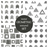 Set of seamless vector geometrical patterns with triangles, circle, squares. Black and white pastel endless background with hand d Stock Photos