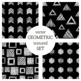 Set of seamless vector geometrical patterns with triangles, circle, squares. Black and white pastel endless background with hand d Royalty Free Stock Images