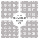 Set of seamless vector geometrical patterns with triangles, circle, squares. Grey pastel endless background with hand drawn textur Royalty Free Stock Photography