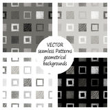 Set of seamless vector grey geometrical patterns with geometric figures, forms. pastel endless background with hand drawn textured Royalty Free Stock Image