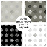 Set of seamless vector grey geometrical patterns with geometric figures, forms. pastel endless background with hand drawn textured Stock Images