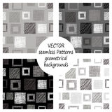 Set of seamless vector grey geometrical patterns with geometric figures, forms. pastel endless background with hand drawn textured Royalty Free Stock Photography