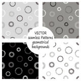 Set of seamless vector grey geometrical patterns with geometric figures, forms. pastel endless background with hand drawn textured Royalty Free Stock Photo