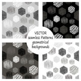 Set of seamless vector grey geometrical patterns with geometric figures, forms. pastel endless background with hand drawn textured. Set of seamless vector Royalty Free Stock Image