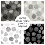 Set of seamless vector grey geometrical patterns with geometric figures, forms. pastel endless background with hand drawn textured. Set of seamless vector Stock Photos
