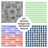 Set of seamless vector grunge geometrical patterns with hand drawn lines. Grungy striped, checkered backgrounds with horizontal, v Royalty Free Stock Images