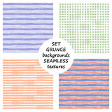 Set of seamless vector grunge geometrical patterns with hand drawn lines. Grungy striped, checkered backgrounds with horizontal, v Stock Image