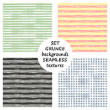 Set of seamless vector grunge geometrical patterns with hand drawn lines. Grungy striped, checkered backgrounds with horizontal, v Royalty Free Stock Image
