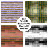 Set of seamless vector grunge geometrical patterns with hand drawn lines. Grungy striped, checkered backgrounds with horizontal, v Stock Images