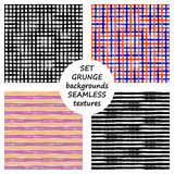 Set of seamless vector grunge geometrical patterns with hand drawn lines. Grungy striped, checkered backgrounds with horizontal, v Royalty Free Stock Photo