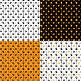 Set of seamless vector Halloween patterns with spiders. stock illustration