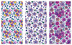 Set of seamless vector hand drawn floral patterns. Backgrounds with flowers, leaves. Decorative cute graphic line drawing illustra Royalty Free Stock Images