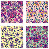 Set of seamless vector hand drawn floral patterns. Backgrounds with flowers, leaves. Decorative cute graphic line drawing illustra Stock Image