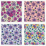 Set of seamless vector hand drawn floral patterns. Backgrounds with flowers, leaves. Decorative cute graphic line drawing illustra Stock Photography