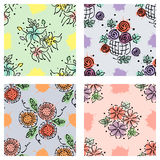 Set of seamless vector hand drawn floral patterns, endless backgrounds Royalty Free Stock Photo