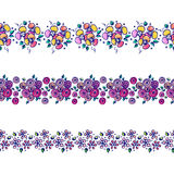 Set of seamless vector hand drawn floral patterns, endless border, frame with flowers, leaves. Decorative graphic line drawing. Illustration. Print for wrapping Stock Images