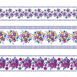 Set of seamless vector hand drawn floral patterns, endless border, frame with flowers, leaves. Decorative graphic line drawing ill Royalty Free Stock Photography