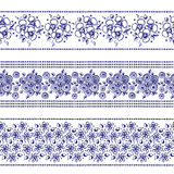 Set of seamless vector hand drawn floral patterns, endless border, frame with flowers, leaves. Decorative graphic line drawing ill. Ustration. Print for wrapping Stock Photos