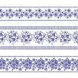 Set of seamless vector hand drawn floral patterns, endless border, frame with flowers, leaves. Decorative graphic line drawing ill. Ustration. Print for wrapping Royalty Free Stock Photography