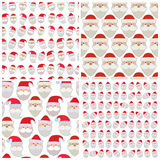 Set of seamless vector illustration of the faces of Santa Stock Image