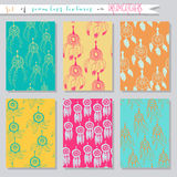 Set of seamless vector illustrations and cards Royalty Free Stock Photography