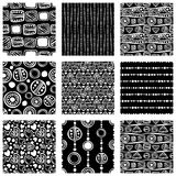 Set of seamless vector pattern. Black and white hand drawn endless background with ornamental decorative elements with ethnic, tra Royalty Free Stock Image