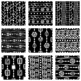 Set of seamless vector pattern. Black and white hand drawn endless background with ornamental decorative elements with ethnic, tra Royalty Free Stock Photos