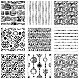 Set of seamless vector pattern. Black and white hand drawn endless background with ornamental decorative elements with ethnic, tra Stock Photo