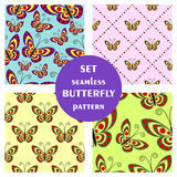Set of seamless vector pattern with insects Stock Photos
