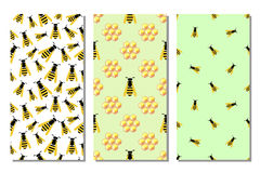 Set of seamless vector pattern with insects Stock Images