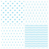 Set of seamless vector patterns for baby boy in marine style. Anchors, seashells waves and starfish Royalty Free Stock Image